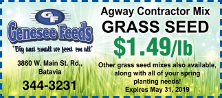 Agway Contractor Mix Grass Seed $1.49/lb