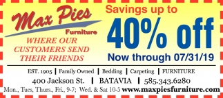 Savings Up To 40% Off